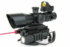 SKS 3-9x42 illuminated Scope w/Red Dot Sight ,Mount, LED Flash Light & Red Laser