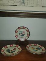"""Homco Home Interiors Set Of 3 Collectable Rooster 2003 Plates 8"""" EUC"""
