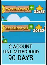 Unlimited high raids from these 2 accounts for 90 days : - Coin Master Big RAID