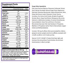 ZipFizz Grape Flavor Healthy Energy Drink Mix w/ Vitamin B12 30 Tubes