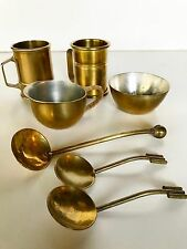 VINTAGE 7 SMALL GERMAN BRASS & PEWTER  INCL. A.G. BUNGE CREAMER! Mid Century