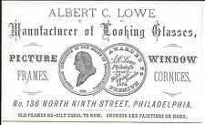 Illus Business Card, Maker of Looking Glasses, Windows, etc, Philadelphia c1870s