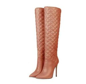 Womens Ladies Fashion Quilted Pointed Toe High Heel Knee High Boots Shoes ACMK