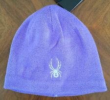 SPYDER Girls Kids Youth One Size Bitsy Glow Hat Pure Purple Knit Stocking Beanie