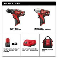 M12 Cordless Driver/Impact Driver 2-Tool Combo Kit 12-V Lithium-Ion W/ Drill Bit