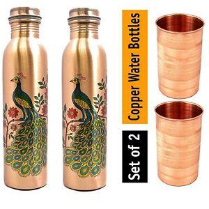 Leak Proof Copper Bottles for Water 1 Litre/Liter Water Bottle 1000 ML Peacock P