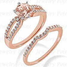 Pink Morganite Diamond Engagement Ring & Wedding Band Matching Set 14k Rose Gold