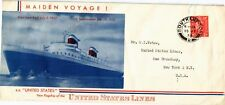 DR JIM STAMPS UNITED KINGDOM MAIDEN VOYAGE SS UNITED STATES LEGAL SIZE COVER