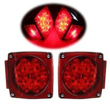 "Pair LED Submersible SQ Red Trailer Lights Kit Under 80"" Stop License Tail Brake"
