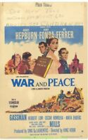WAR AND PEACE MOVIE POSTER 1956 Unfolded 14x22 Window Card Size AUDREY HEPBURN