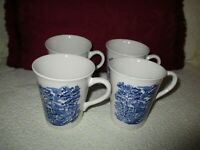 """Vintage China Colonial Days Scene (4) Mugs 3 3/4"""" Tall 3 1/4"""" Top made/ England"""