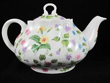 Queens Country Meadow Oval Tea Pot With Lid Fine Bone China Floral England