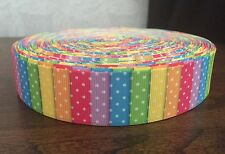 "1m Multi Colour Stripe Dot Pink Yellow Orange Rainbow Grosgrain Ribbon, 1"" 25mm"