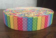 """1m Multi De Rayas De Colores Punto Rosa Amarillo Naranja Arco Iris de cinta de grogrén, 1"""" 25mm"""