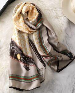 Ladies Women silk satin chiffon luxury chain pattern print scarf