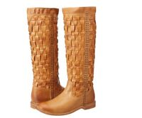 New Frye Paige Woven Camel Leather Boots Womens 8.5 $498