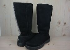 UGG ULTIMATE TALL BRAID  black SUEDE SHEARLING WOMENS  BOOTS US 11 NEW