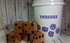 Yardzee Custom Outdoor 5 Cedar Wood Lawn Dice Yard Game Set Burnt Dots Purple