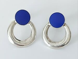 Beautiful 925 Sterling Silver & Lapis Lazuli Fancy Disc Design Earrings