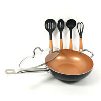 6 Pieces Copper Cookware Set 12 inch Nonstick Woks Fry Pans with Lid 4 Utensils