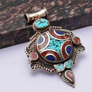 "Tibetan Turquoise Coral Ethnic Handmade Pendant Jewelry 2.72"" AP 41417"