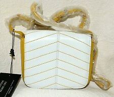 New Vintage BODHI mustrd and white pebble leather small shoulder cross body bag