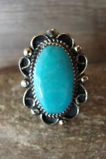 Navajo Indian Jewelry Nickel Silver Turquoise Ring Size 9- J. Cleveland