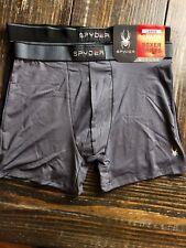 SPYDER Performance Boxer Briefs 2 Pack Dark Grey Black New Mens Size Large $45