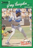 1990 Donruss Rookies # 16 Greg Vaughn -- Milwaukee Brewers