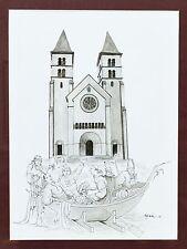 Aquarell Karikatur Basilika Echternach Luxemburg Klerus signiert 1991 34x25cm