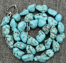 Fashion 15x20mm Blue Turquoise Gemstone Nugget Shape Beads Necklace 16-36''