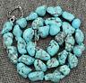 Fashion 15x20mm Blue Turquoise Gemstone Nugget Shape Beads Necklace 16-36''