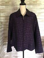 Lane Bryant Dress Jacket Blazer Size 18 20 Womens Zip Up Purple Black Career