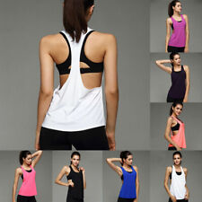 UK Womens Sports Vest Fitness Exercise Gym Yoga Tank Tops Singlet Loose T Shirts