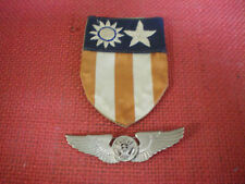 WW2 China Burma India Flight Crew Wings Silver and Patch Theater Made