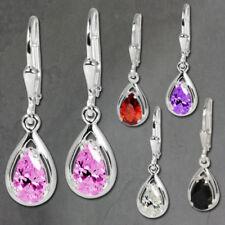 Orecchini di lusso con gemme pendenti zircone argento sterling