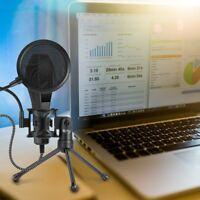 Condenser Microphone Cardioid Audio Studio Vocal Recording Mic with desk tripod