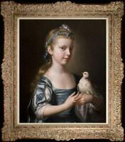 Hand Painted Old Master-Art Antique Oil Painting small girl bird on canvas 20x24