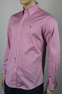 Ralph Lauren Pink White Stripe Custom Dress Shirt Blue Pony NWT