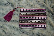 Merona Purple Aztec Boho Fringe Beaded Accessory Bag Purple Black NWOT