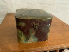 Antique Victorian Celluloid Dresser Collar/Hat  Box, Knights On Horses