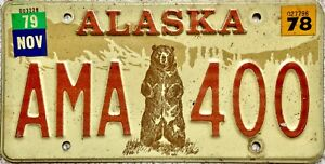 1978 Alaska Standing Bear American License Licence USA Number Plate AMA 400