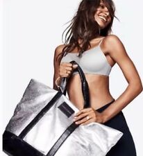 Victorias Secret Metallic Silver Weekender Tote Bag Limited Edition 2017 NWT