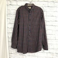 L.L. Bean M Mens Dress Casual Shirt Red Blue Plaid Wrinkle Resistant No Iron #X4