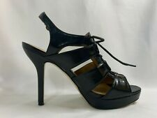 Nine West Black leather shoes Lace-up high heel sandals slingback open toe 7.5""