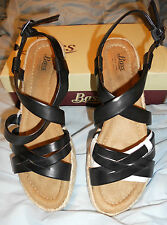 "Bass   Ladies Sz.8.5M  ""Janey"" Black Wedge Strappy Sandal  MSRP $99.95"