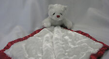 MY BANKY SECURITY BLANKET LOVEY WHITE RED JANUARY GARNET TEDDY BEAR SATIN