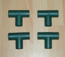 PLASTIC TUBE CONNECTORS x 4 - GREEN T - SHAPED - GARDEN / POLE / DIY - NEW OTHER