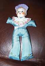 Antique Collectable Porcelain Doll Head Hat Pin Cusion Vintage Vanity table Item