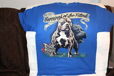 RUDE DOGS PITBULL SURVIVAL OF THE FITTEST FENCE BLUE T-SHIRT SHIRT